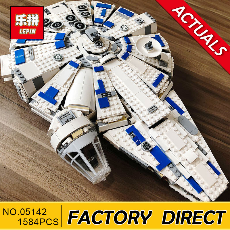 In stock LEPIN Star Series War 05142 Building Blocks Force Awakens Millennium Legoing 75212 Toys Falcon Model Kids Toy 1584pcs dhl lepin 05142 star building blocks force toy awakens millennium kids toys falcon model legoings 75212 birthday christmas gifts