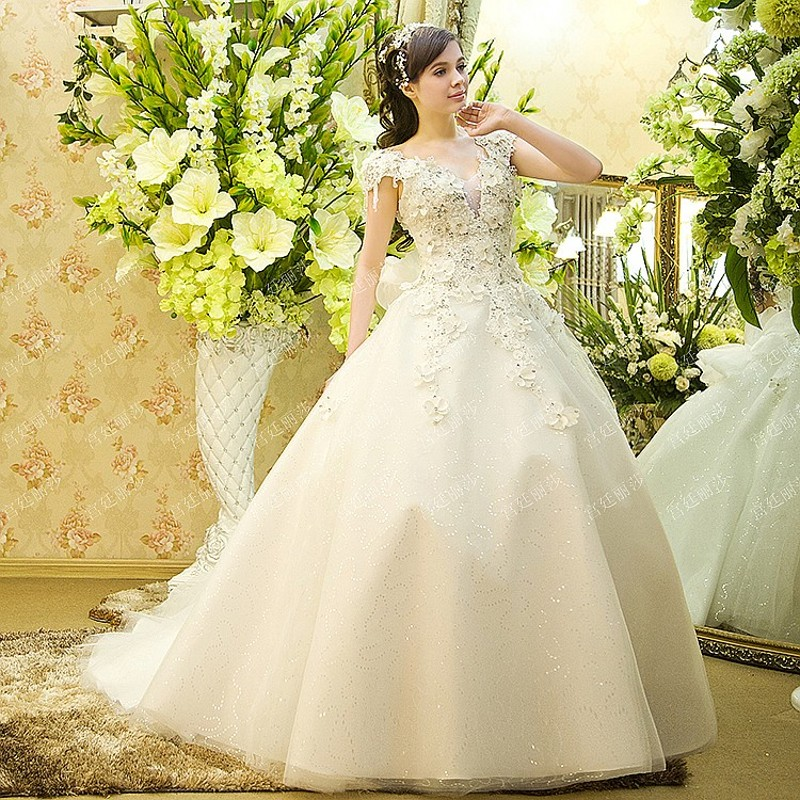 3 Colors Luxurious Wedding Dress Vestido de noiva 2015 Shiny Crystal ...