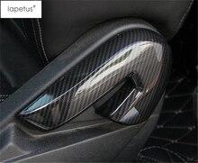 цена на Lapetus Accessories For Ford Mustang 2015 - 2019 Carbon Fiber Style Car Seat Backrest Adjustment Handle Frame Cover Kit Trim