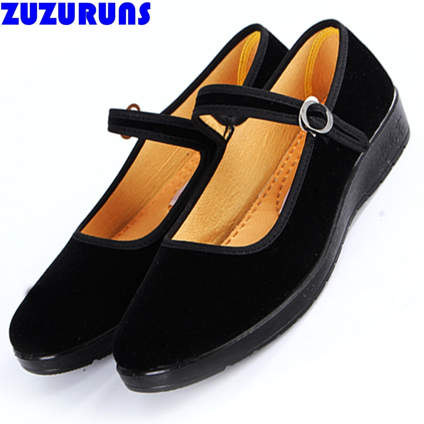 new women cloth flat sole shoes black flock hotel flats ladies buckle strap girls shoes ultra