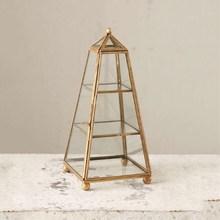 Beautiful Layered Personalized Glass Jewellery Box Creative Copper Strip Geometric Shape Wedding Decoration