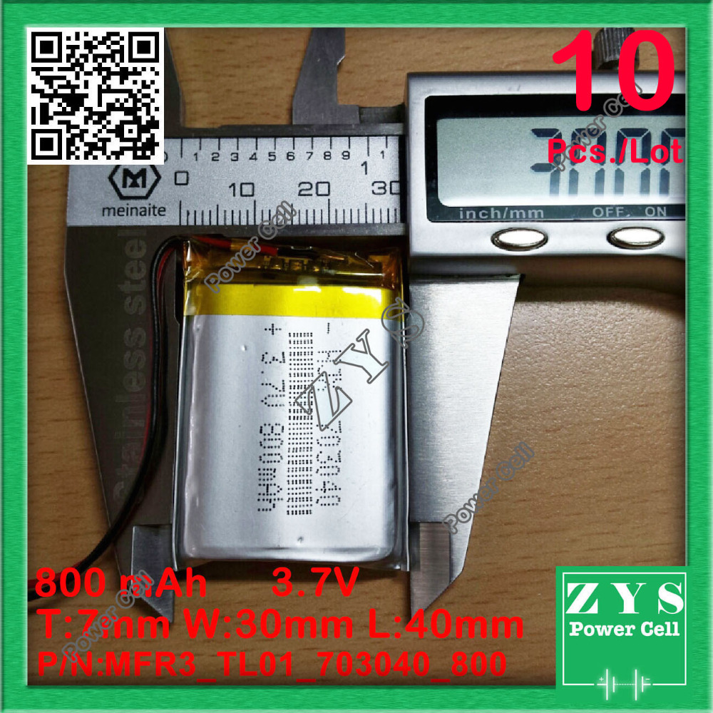 10 pcs 703040 3.7V 800mah Lithium polymer Battery with Protection Board For PDA Tablet PCs Digital Products 3.7 V 800 mAh 073040 size 524945 3 7v 1800mah lithium polymer battery with protection board for mp4 psp gps tablet pcs pda free shipping