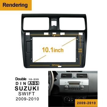 1/2Din voiture DVD seul cadre Audio ajustement adaptateur tableau de bord garniture Kits Facia panneau 10.1 pouces pour SUZUKI SWIFT 2009-2010 lecteur Radio