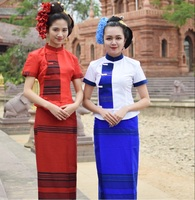 New Dai traditional clothing Thailand Southeast Asia Thai Traditional SaBai Dress Cloth Silk Synthetic Thailand National Costume