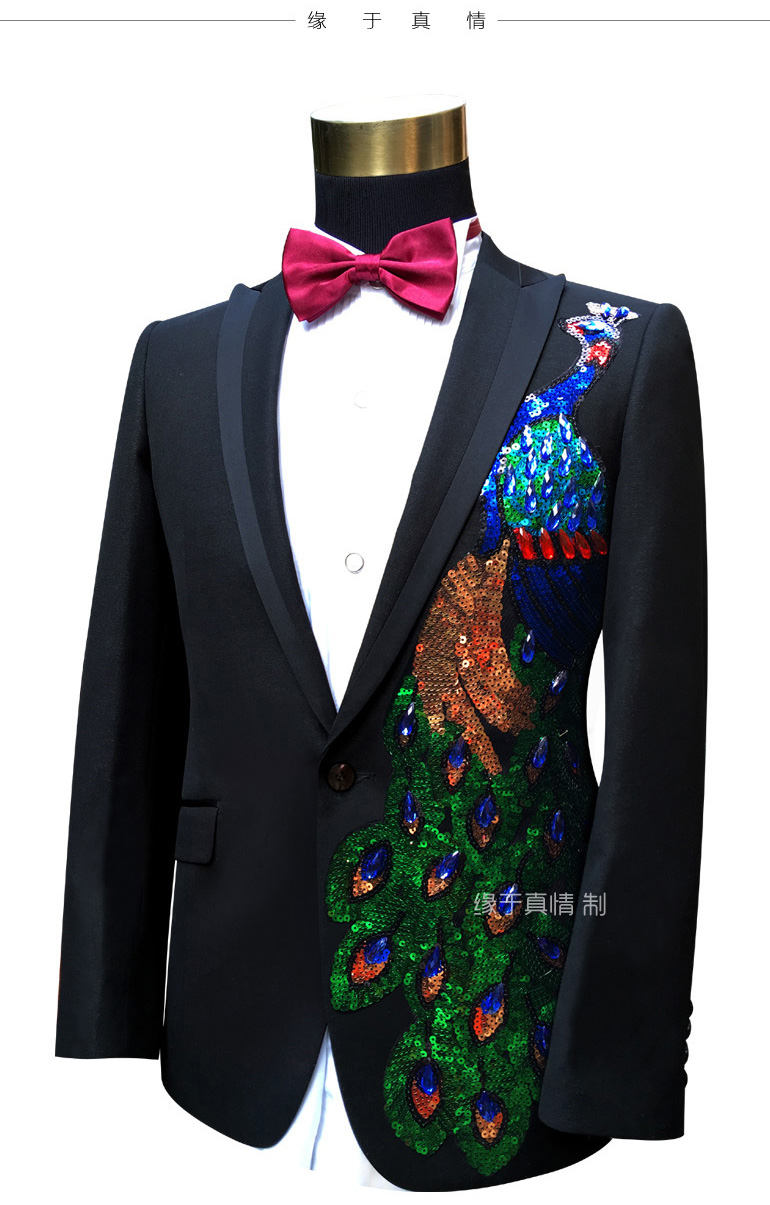 Performance Noir Partie Hot Costumes Mariage Applique Smokings Blazer Vêtements Custom Hommes Pantalon veste Bal 2016 De Made Marié YOxvvwR