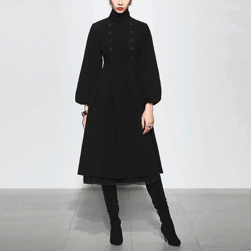 Black Retro Wool Dress Women Temperament 3/4 Sleeve OL Long Woolen Blend Dress Fall Winter Ladies Party Dresses Vestidos