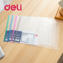 Deli 1pcs Drawbar Report Clip A3 Specification File Transparent Folder Plastic Tie Clip Waterproof Wearable Red 5 Color 5861