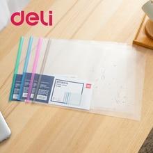 Transparent Folder File Plastic Tie-Clip Wearable Specification Deli Waterproof 5-Color