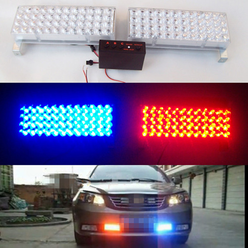 2*48 LED Strobe Flash Warning 12V LED Strobe Warning Light Emergency Vehicle Flash Police lights Car Truck Firemen blue lamp 4 led 12 24v car strobe flash light white red amber light vehicle truck rear side light car emergency warning lamp drop shipping