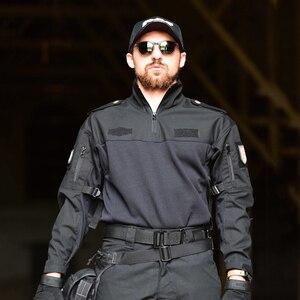 Image 3 - Mege טקטי צבאי ציוד לחימה חולצה הסוואה מרובה שחור גברים נשים חולצה טקטית Airsoft CS ללכת בגדי טיפון