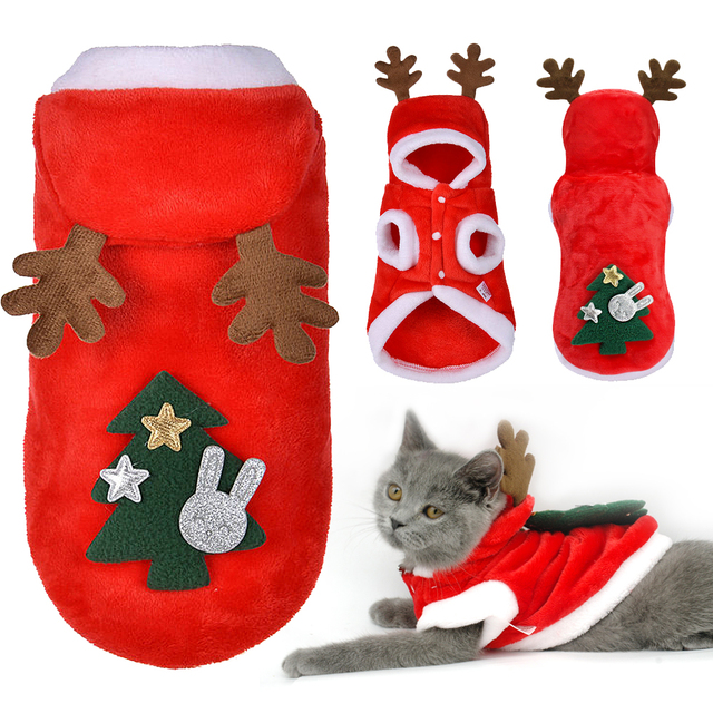 Christmas Cat Clothes Small Dogs Cats Santa Costume Kitten Puppy Outfit  Hoodie Warm Pet Dog Clothes - Christmas Cat Clothes Small Dogs Cats Santa Costume Kitten Puppy
