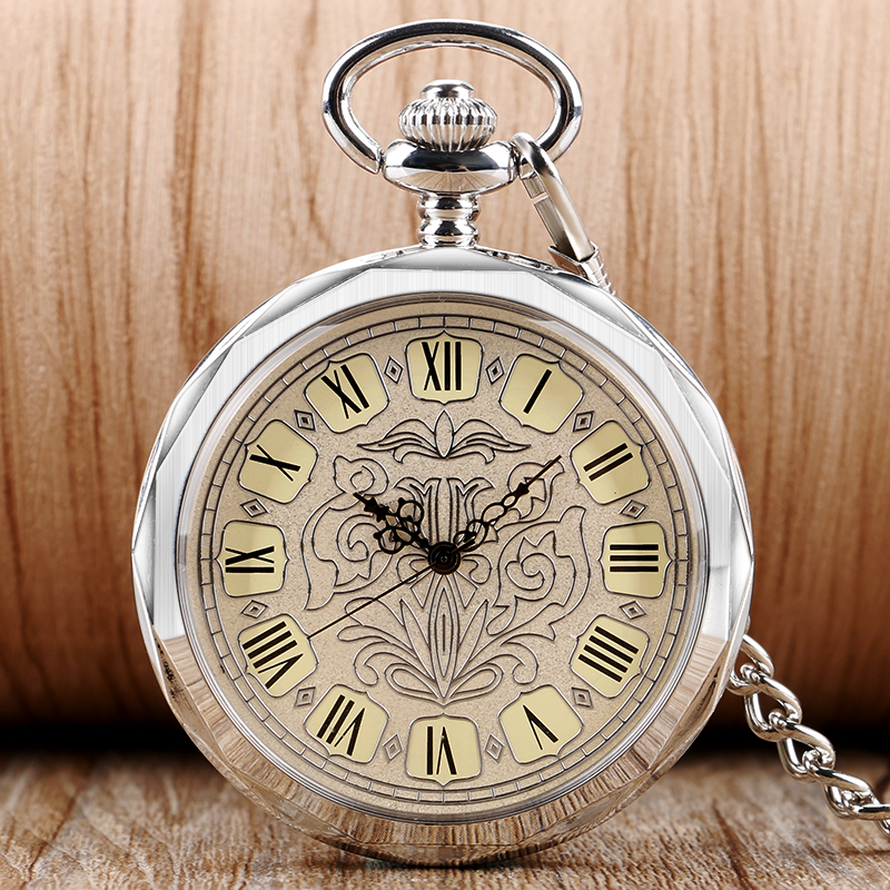 Antique Transparent Roman Numbers Classic Pocket Watch Mechanical Hand Wind Clock For Men Women With Chain 2016 Hot