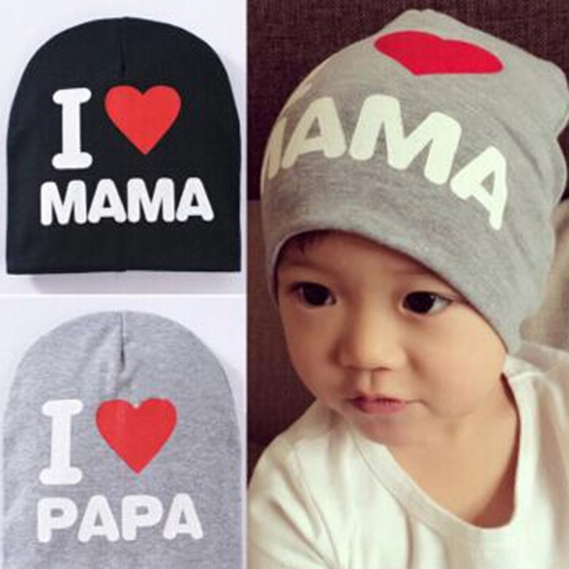 Cute Gorra I LOVE MAMA PAPA Print Baby Hats Baby Knitted Warm Cotton Beanie Hat Newborn Props Touca Chapeu Toca Infantil Gifts