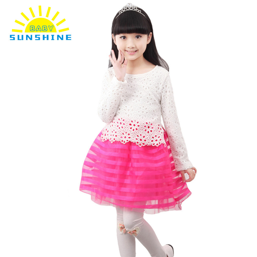 Beautiful crochet dresses for kids trendy - New Winter Baby Girls Dress O Neck Long Sleeve Striped Kids Crochet Lace Princess Dress Children