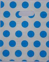 2015 Hot-venda 100 pcs 35*25 cm Azul Bonito pontos brancos Saco de Compras Cabo de Plástico Para Presentes atacado 015035069
