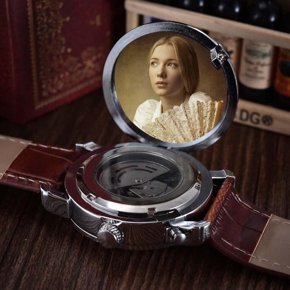 af33846a999 Top Marca de Luxo Mecânico Automático de Esqueleto Relógios PU Couro Moda  Casual Homens Relógios relogio