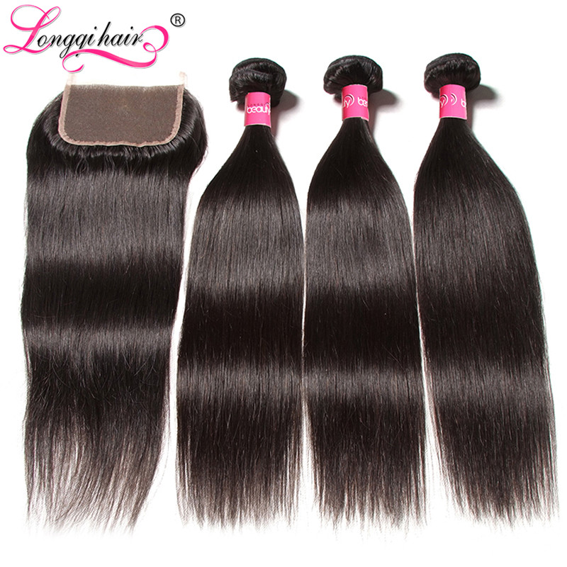 Longqi Straight Hair Bundles with Clsoure Brazilian Hair Weave Bundles 3pcs with Closure Remy Human Hair