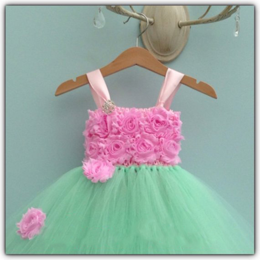 Mint Green O-neck Sleeveless New Year Dresses for Girls Wedding Dress Children Vintage Rose Flower Girls Tutu Dress Ball Gowns (2)