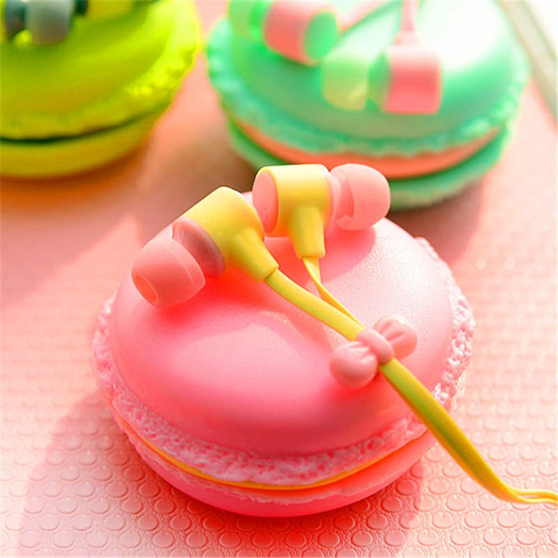 Lovely Candy Earphone Cute Earphones For iPhone Mp3 iPad Phone With Macaron Box Girl Kids Color Wired Earbuds Headset Smartphone Бороскопы
