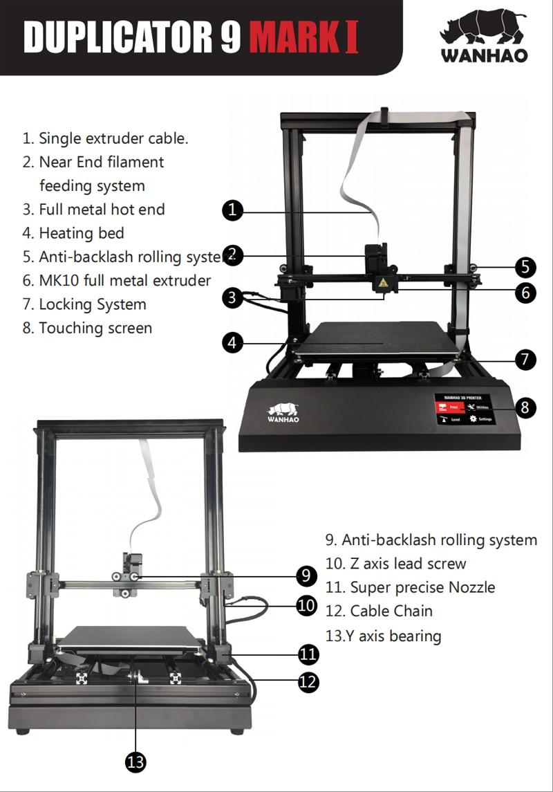 HTB1tRaEamtYBeNjSspkq6zU8VXav - New Wanhao FDM Desktop 3D Printer Machine Duplicator 9 D9/300 MK2 With Auto Leveling Big Print size 300*300*400mm Free Shipping