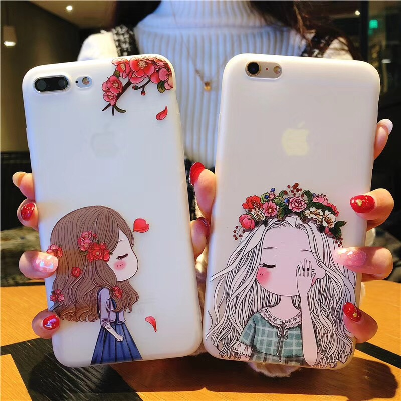 Lovely Girl Girl Phone Cases For iPhone X 8 7 6 6S Plus 5 5S Drinking Design Transparent Soft Silicone Fundas Cover for iPhone7
