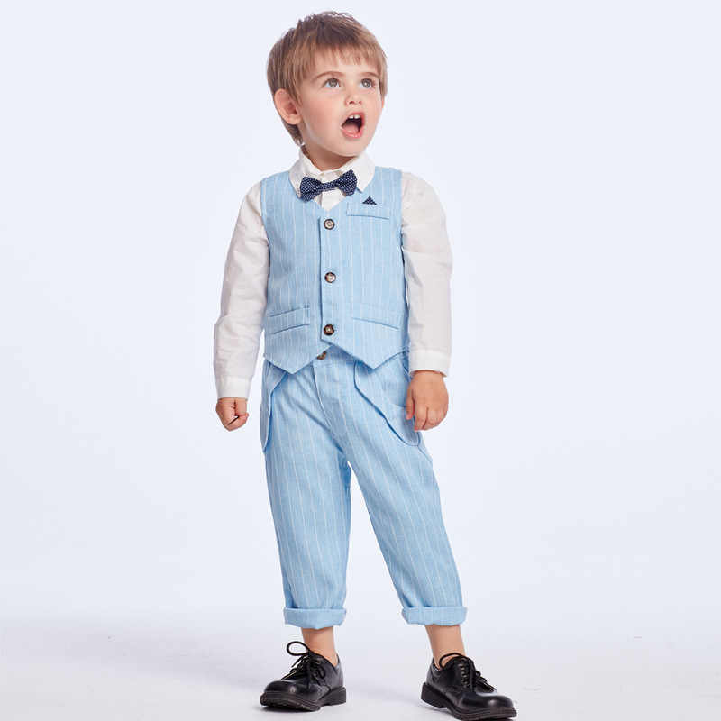 Blazers Suits Baby Jongens 2019 Nieuwe Lente Zomer Vest Shirt Broek Wedding Formele Party Gentleman Baby Kids Jongen Bovenkleding Kostuum