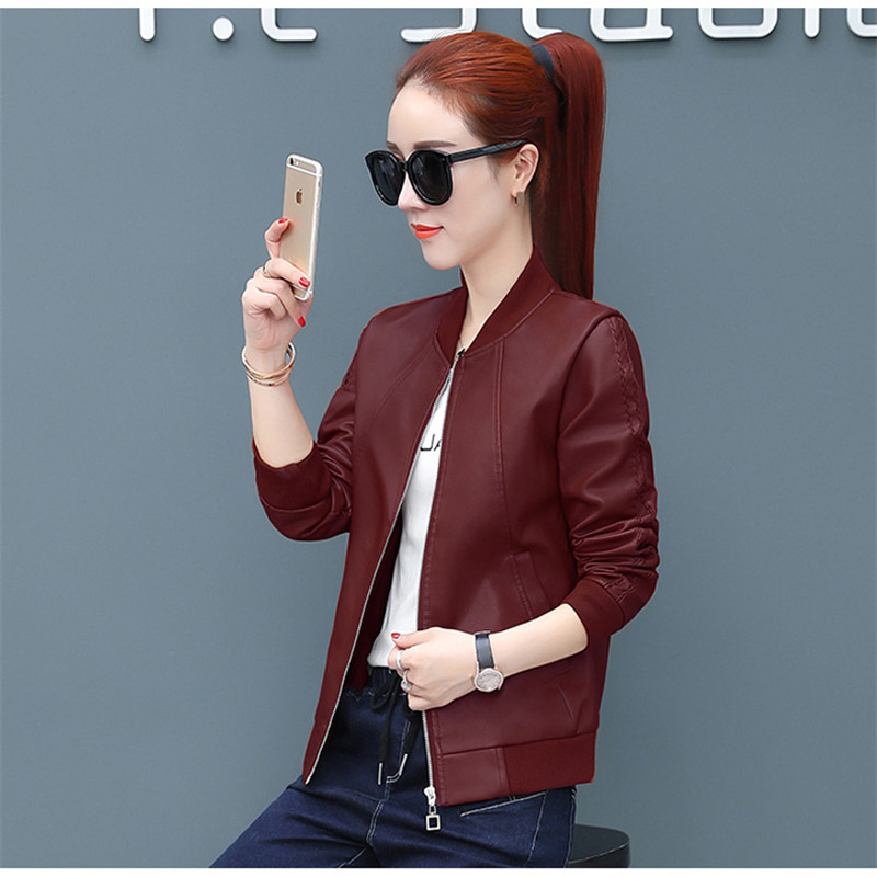 Short   Leather   Jacket Female 2019 Spring Autumn Round Neck Large Size Coat Baseball Uniform Wild Pu   Leather   Jackets Women TTT152
