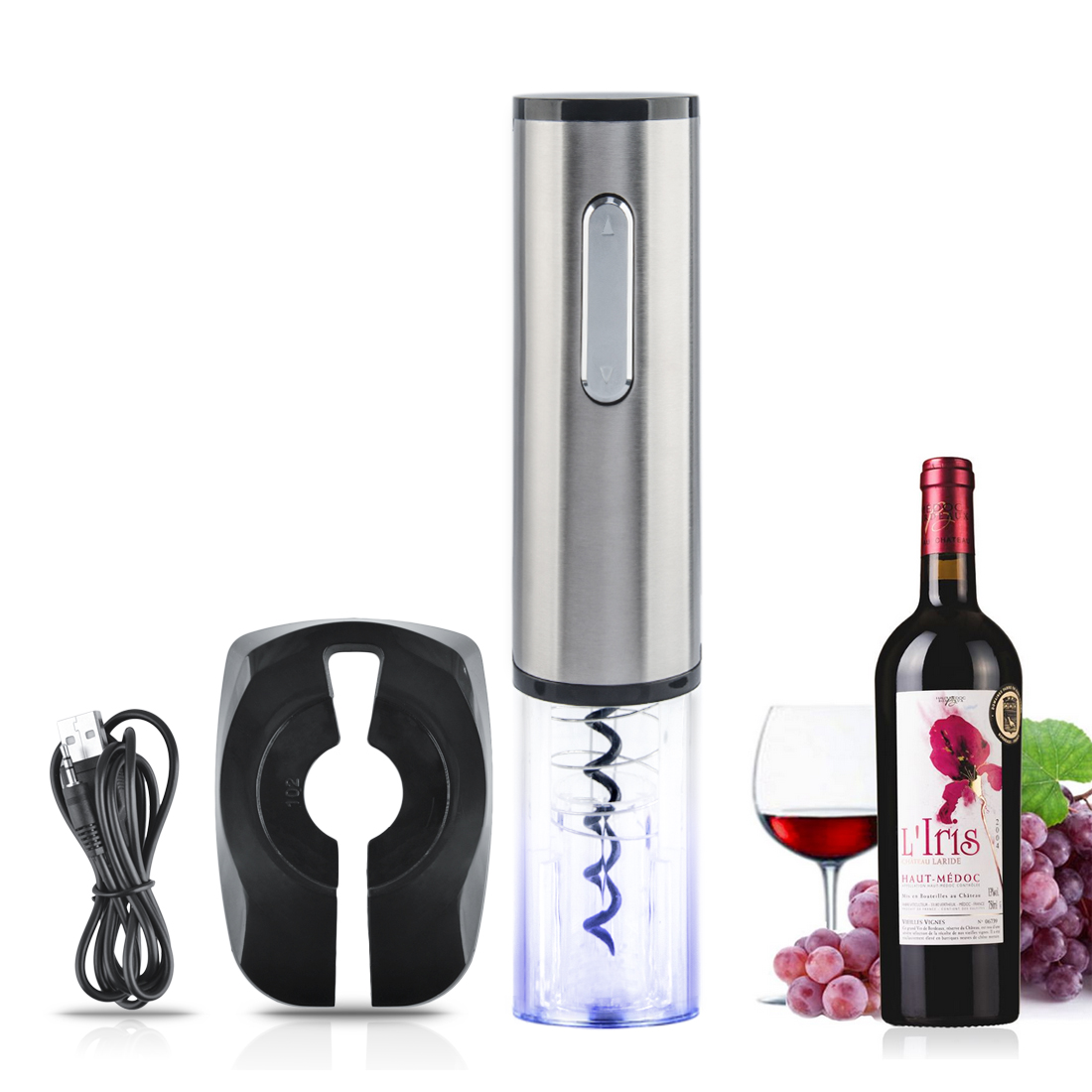 Top Quality Rechargeable Electric Wine Bottle Opener Automatic Wine Opener Corkscrew Bar Tool Silver Transparent