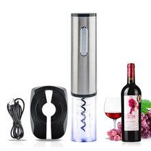 Top Qualität Wiederaufladbare Elektrische Wein Flaschenöffner Automatische Wein Korkenzieher Bar Tool-Silber + Transparent