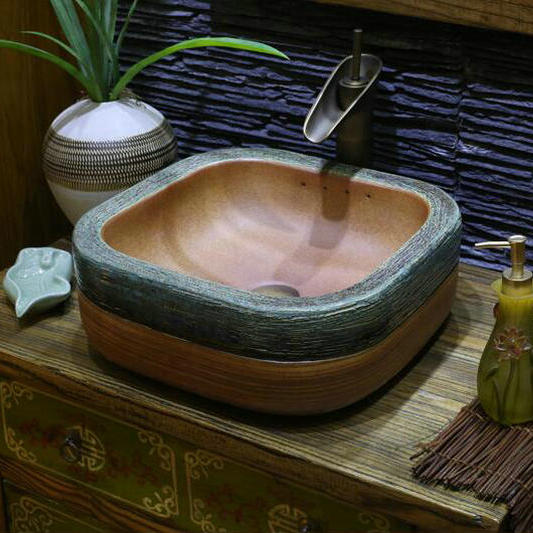 Handmade Primitive Style Stone Like Porcelain Countertop Lavabo Bathroom  Sink Wash Basin(China (Mainland