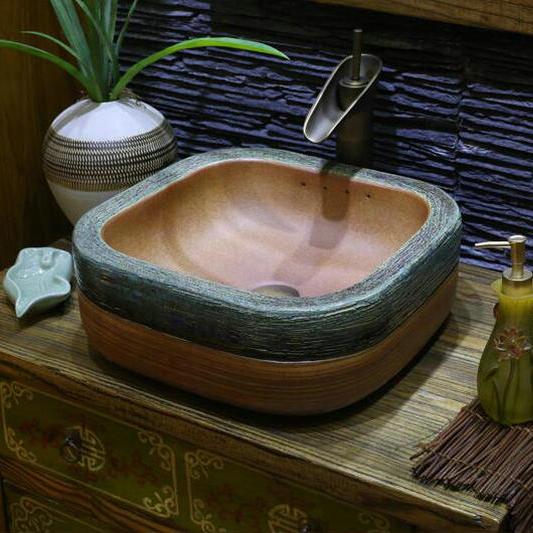 handmade primitive style stone like porcelain countertop lavabo bathroom sink wash basin