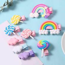 Candy Color Girls Cartoon Biscuits Hair Clips Double Rainbow Hairpins for Princess Headdress Accessories