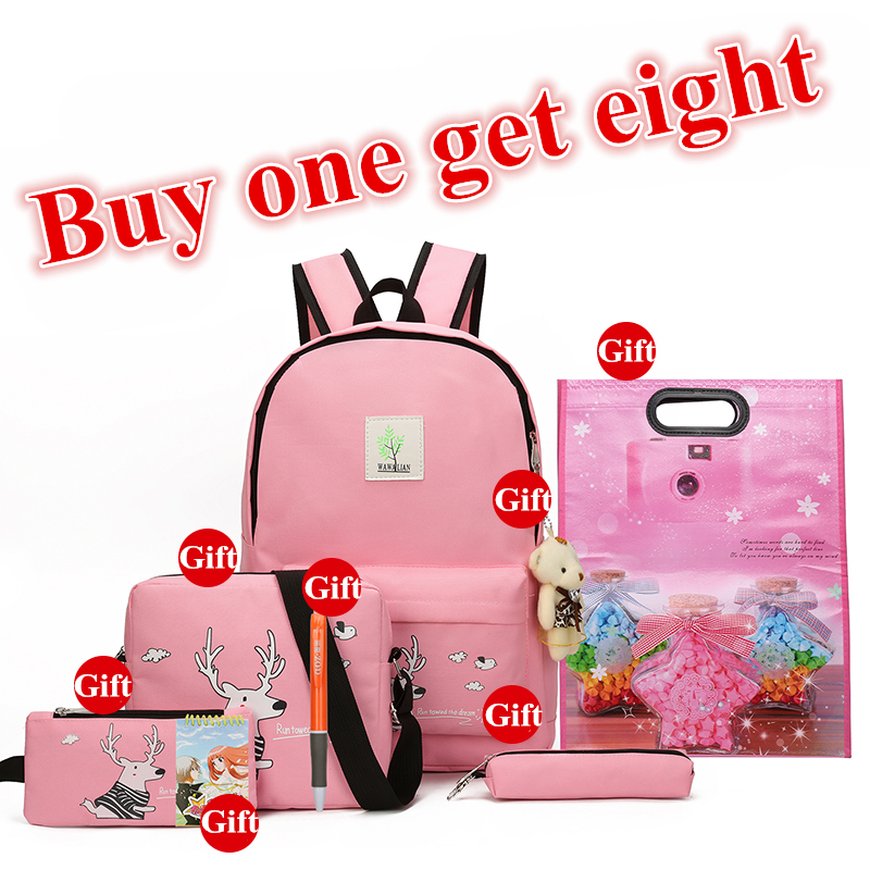2017 New Girls Backpacks Cartoon Printing School Backpack Cute Canvas Teenager Schoolbags For Girls Students Lovely Bag Children cute candy printing school bookbags for girls college students illustration backpack childrens 3d animal back pack for teenager