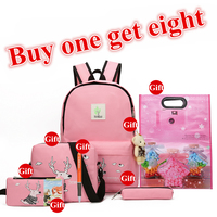 2017 New Girls Backpacks Cartoon Printing School Backpack Cute Canvas Teenager Schoolbags For Girls Students Lovely