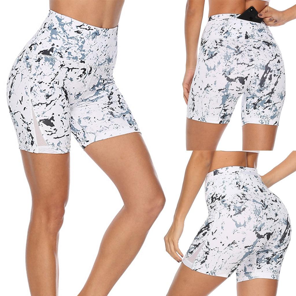 Women Print Yoga Sports Tight Short Pants And Hips High Waist Thread Short Pant Pantalones Cortos De Cintura Alta