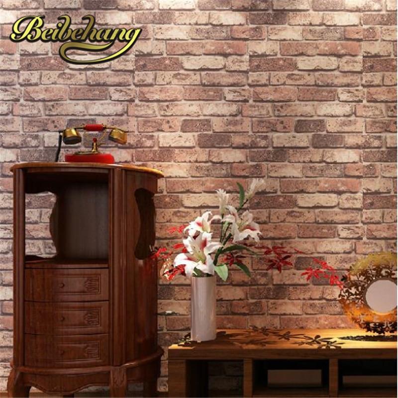 Beibehang Papel De Parede Red Brick Stone Natural Rustic Vintage 3d Effect Designer Vinyl