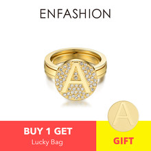 Enfashion Letter Initial Screw Ring For Women Stainless Steel Gold Color Adjustable Knuckle Letter Rings Fashion Jewelry 188007(China)