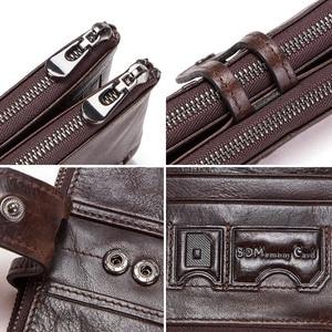Image 5 - CONTACTS الرجال مخلب رائجة البيع حقيقية محفظة جلدية طويلة الذكور محفظة نسائية للعملات المعدنية سستة حقيبة المال ل iphone8 portemonny الرجال walet