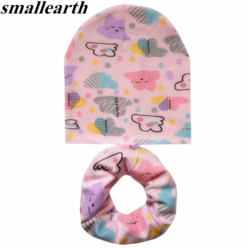 2Pcs/Set Cotton Baby Hat Scarf Spring Cartoon Print Children's Caps Scarves Boys Girls Soft Beanie Collar Autumn Child Hat Set