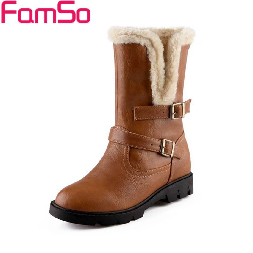 Free shipping 2016 new font b Women b font Boots Buckle black Half Snow Boots Winter