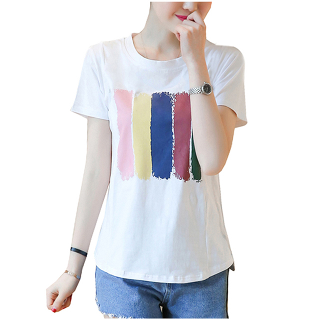 849ad3484688b Maternity Nursing Tops T shirt Summer Short Sleeve Rainbow Stripes Print Breastfeeding  Top Tee White Black Cute Casual Clothes