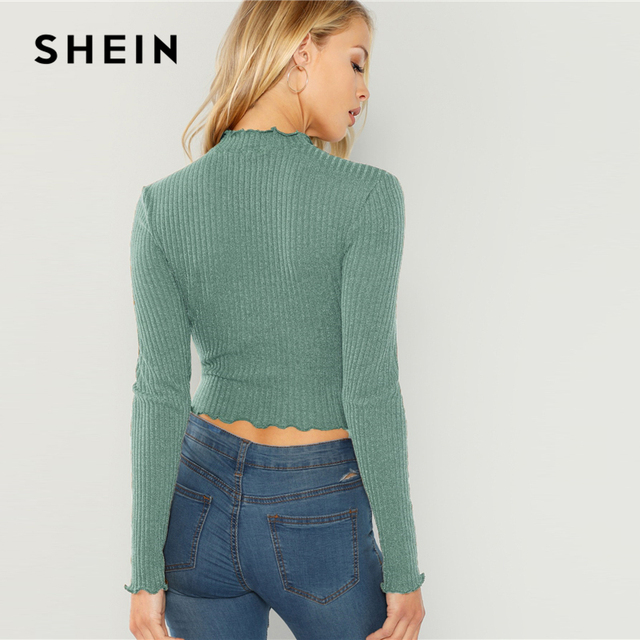 SHEIN Highstreet Green Lettuce Trim  Round Neck Solid Pullovers Crop Top 2018 Autumn Casual Women Modern Lady Tshirt Top 3