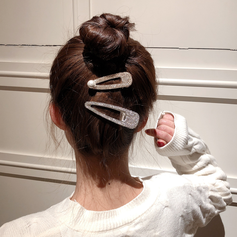 Ruoshui Full Crystal Hairpins Woman Hair Accessories Pearl Hair Clips Korean Style Hair Grip Girls Sweet BB Clips Barrettes