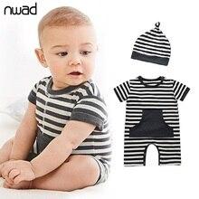 Sommer-Säuglings-Jungen-Baumwollspielanzug-beiläufiges gestreiftes neugeborenes Baby kleidet Kleinkind-Jungen-Kurzschluss-Hülsen-Spielanzug mit einem Hut FF099