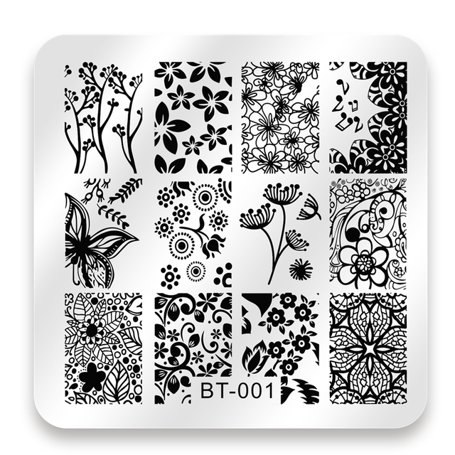 Biutee 6*6cm Square Nail Stamping Plates Lace Flower Animal Pattern Nail Art Stamp Stamping Template Image Plate Stencils
