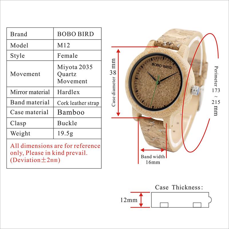 BOBO BIRD Timepieces Handmade Cork Strap Bamboo Women Wooden Watches 14