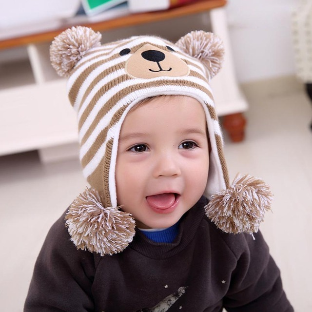 Winter Warm Baby Hat Baby Knitting Cap Cartoon Pattern Baby Boy Hats