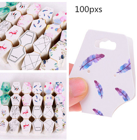 100pcs  Colorful Printing  Paper Cards Jewelry Necklace Bracelet Hang Tag  Wedding Note DIY Blank Price Name Hang Tag Gift Craft