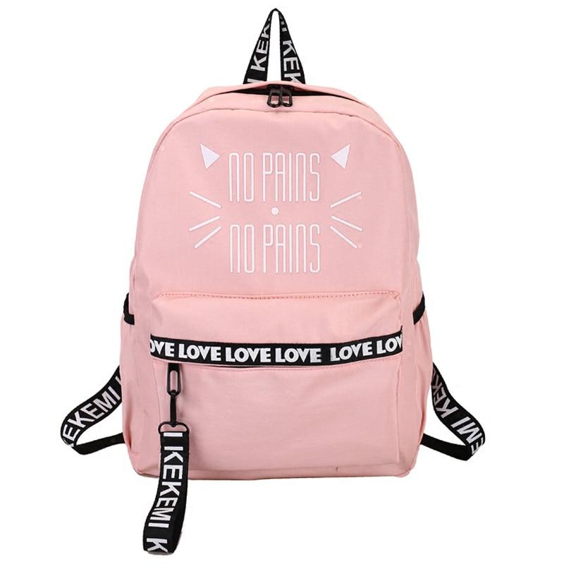 Luna de madera gato carta impresión mochila Rosa bolsas para la escuela adolescente niñas estudiantes bolsa portátil mochila