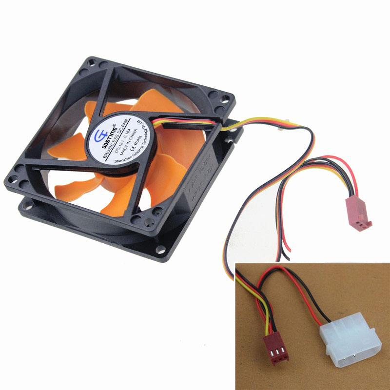 Gdstime 5 pcs/lot DC12V PC Silent Computer Case System Cooling Fan Cooler 80mm 80x80x25mm Hydraulic Bearing gdstime 10 pcs dc 12v 14025 pc case cooling fan 140mm x 25mm 14cm 2 wire 2pin connector computer 140x140x25mm